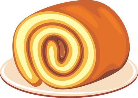 Chocolate roll cake on a dish Stock Vector - 137530244