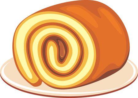 Chocolate roll cake on a dish Illustration