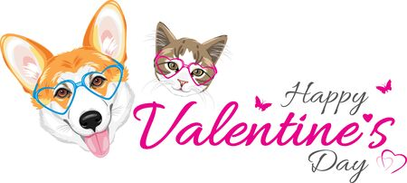 Happy welsh corgi and cute cat in glasses heart shaped. Festive design for valentines day Illustration