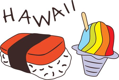 Musubi and shave ice. Design for Hawaii menu Illustration
