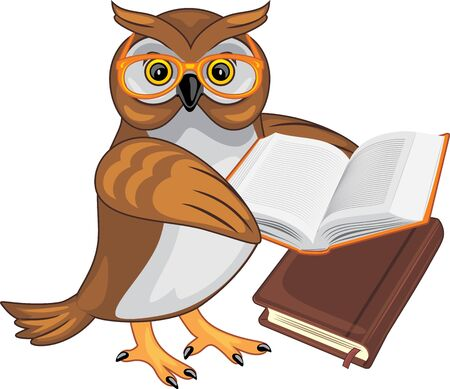 Smart owlet holds a book