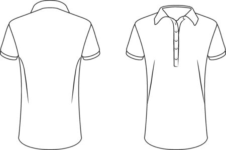 White female polo shirt. Front and back contour drawing