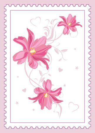 Beautiful pink tulips in a postal frame for postcard design