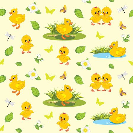 Seamless spring background with flowers, ducklings, chickens and insects