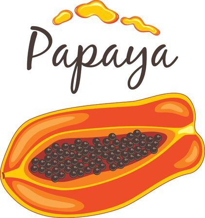 Papaya with drops of juice for t-shirt design