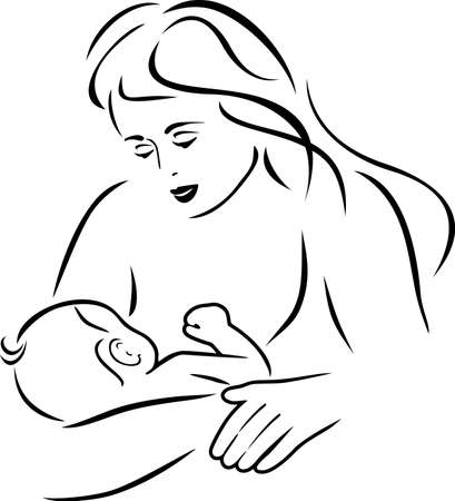 Mom feeds the baby. Drawing for logo design Ilustrace