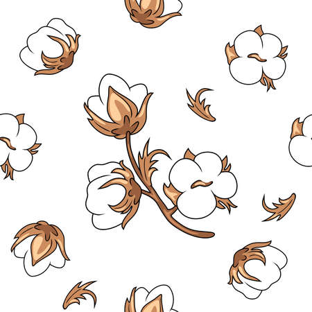 Seamless vintage background with blooming cotton
