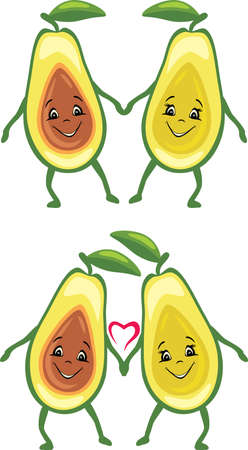 Two funny smiling avocado