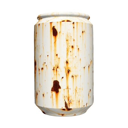 3d rusty can isolated on white background photo