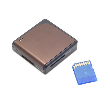 Sd card & card reader isolate on white background  photo