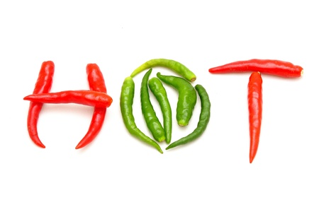 hot thai chilli on white background