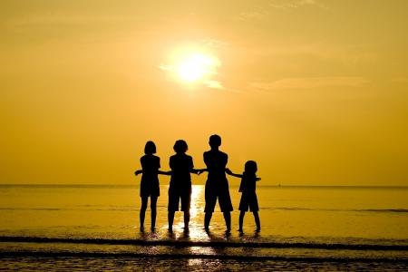Family silhouet Stockfoto