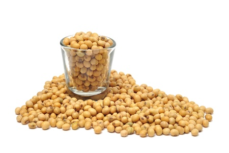 soybean in glass isolated on white background Stock Photo