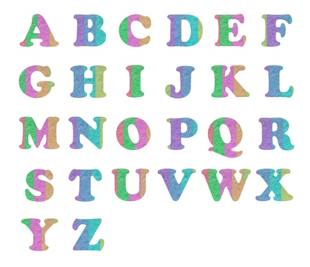 letter alphabet by colorful paper reused