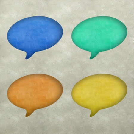 Plasticine bubble speech on plasticine texture background  photo