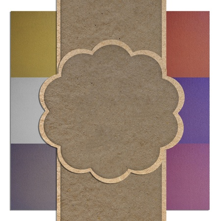 Leather texture and paper craft stick template frame design for greeting card  Stock Photo - 12249949