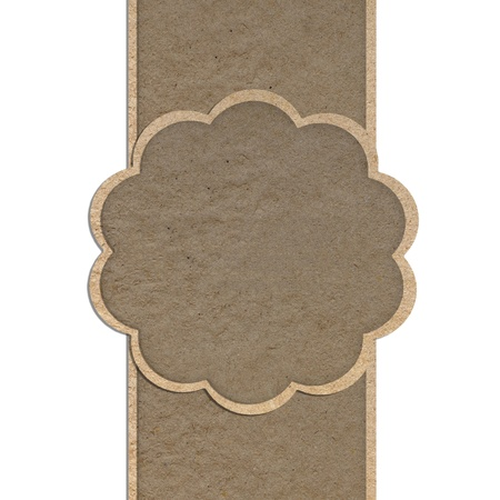 Leather texture and paper craft stick template frame design for greeting card