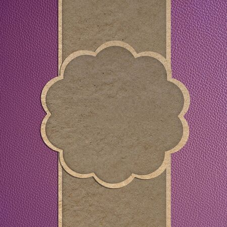 Leather texture and paper craft stick template frame design for greeting card Stock Photo - 12249944