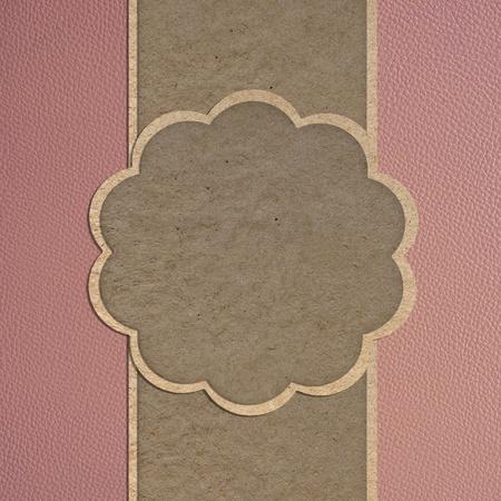 Leder textuur en papier ambachtelijke stok sjabloon frame ontwerp voor wenskaart