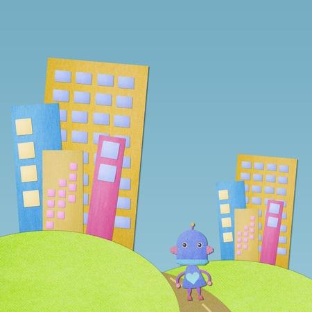 Paper craft stick cute cartoon robot in big city with green grass photo