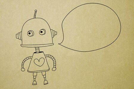 cute robot with blank bubble speech on paper texture background Stock Photo - 12249998