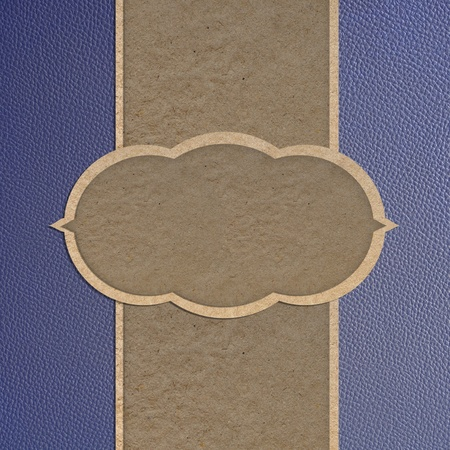 Leather texture and paper craft stick template frame design for greeting card photo
