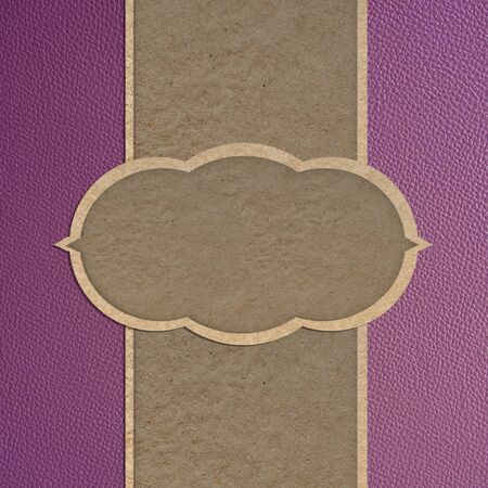 Leather texture and paper craft stick template frame design for greeting card Stock Photo - 12250010
