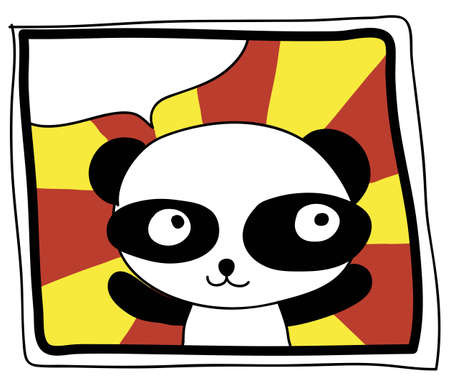free hand draw happy panda on colorful background photo