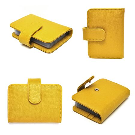 leather cards holder set on a white background photo