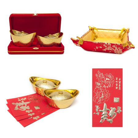 Chinese New Year Decoration Collection on white background photo