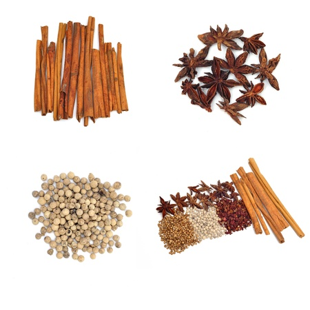 aromatic spice collection on white background photo