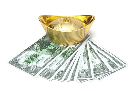 Decoration of chinese gold ingots and money on white background Stock Photo - 12994462