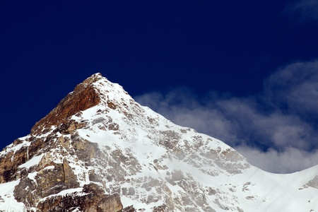 beautiful landscape, Snow covered beautiful mountain peaks against the blue sky Stock Photo