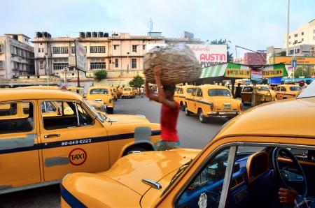 taxi awaiting a ride, kolkata, India