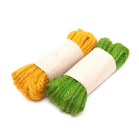 Colorful rope isolated on white background photo
