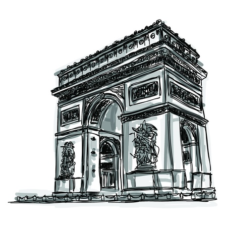 フリーハンド スケッチの世界有名なランドマーク コレクション アルク ドゥ トリオンフ パリ, フランス