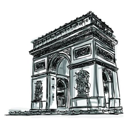 Vrije hand schets wereld beroemde bezienswaardigheid collectie Arc de Triomphe, Parijs, Frankrijk
