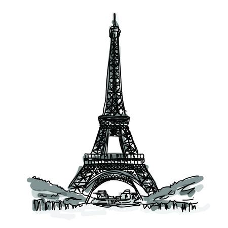 フリーハンド スケッチの世界有名なランドマーク コレクション エッフェル塔、パリ、フランス  イラスト・ベクター素材
