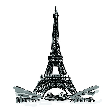 Free Hand Sketch World famous landmark collection   Eiffel Tower, Paris, France Vector