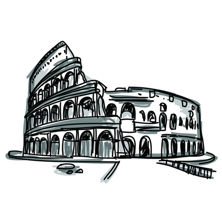 Free hand sketch World famous landmark collection   Colosseum in Rome, Italy