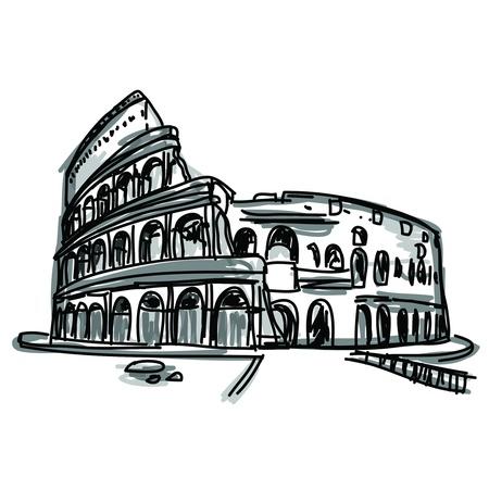 esboço: Mão livre esboço mundialmente famoso marco coleção Coliseu em Roma, Itália Ilustração
