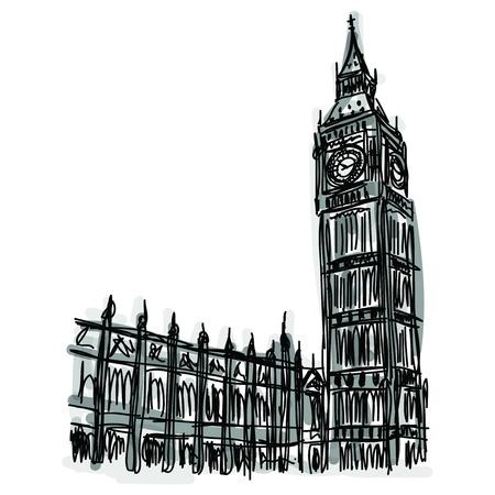 フリーハンド スケッチの世界有名なランドマークのコレクション: ビッグ ベン、ロンドン、イギリス