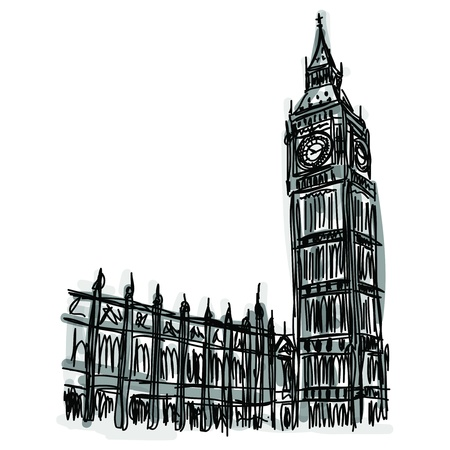large house: Free hand sketch World famous landmark collection : Big Ben London, England