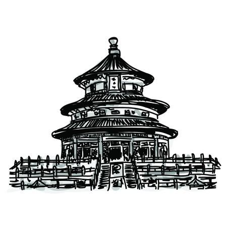 フリーハンド スケッチの世界有名なランドマークのコレクション: 天壇、中国