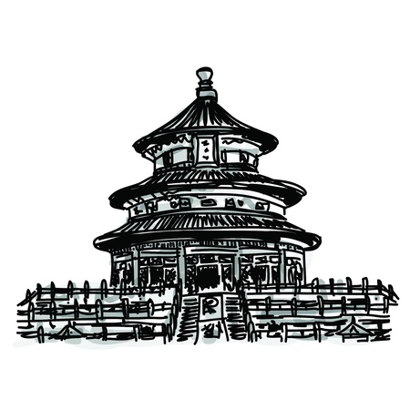 china art: Free hand sketch World famous landmark collection : Chinese Temple of Heaven, China Illustration