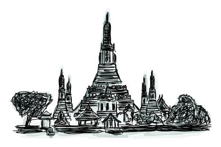 thai buddha: Croquis a mano alzada Mundial colecci�n famoso monumento: Templo Wat Arun en Bangkok, Tailandia