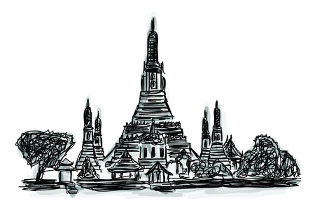 Free hand sketch World famous landmark collection : Wat Arun Temple in Bangkok, Thailand Vector