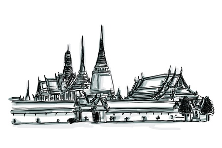 monasteri: Gratuito schizzo a mano di fama mondiale raccolta punto di riferimento: Grand Palace - Wat Phra Kaew, Bangkok, Thailandia Vettoriali