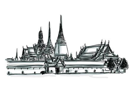 Vrije hand schets wereld beroemde bezienswaardigheid collectie: Grand Palace - Wat Phra Kaew, Bangkok Thailand