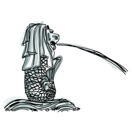 フリーハンド スケッチの世界有名なランドマークのコレクション: シンガポールのマーライオン、シンガポール 報道画像